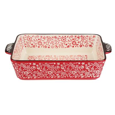 MILLIMI Форма для запекания и сервировки прямоугольная с ручками, керамика, 27,5х17х6см, красный - 1
