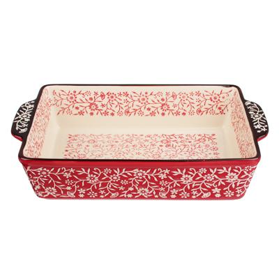 MILLIMI Форма для запекания и сервировки прямоугольная с ручками, керамика, 31х19,5х7см, красный - 1