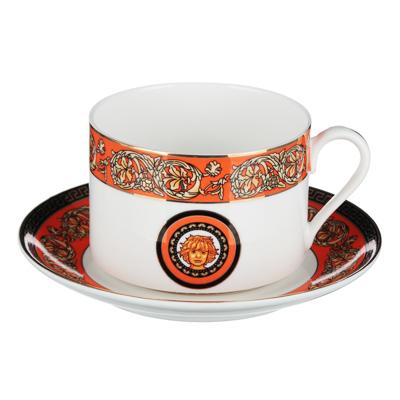 Рыжий Набор чайный 2 предмета (чашка 220мл, блюдце 13см), костяной фарфор, подарочная упаковка - 1