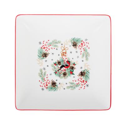 MILLIMI Снегирь Блюдо квадратное, 18х18х4,5см, керамика - 1