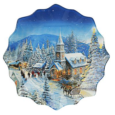 Зимний пейзаж Блюдо круглое 20х2см, стекло - 1