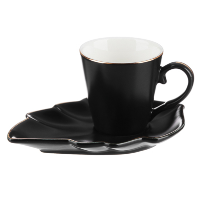 MILLIMI Лист блэк Набор кофейный 12пр., 80мл, 14,5х10см, костяной фарфор - 1