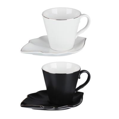 MILLIMI Лист блэк&вайт Набор чайный 2 пр., 220мл, 16x11,5см, костяной фарфор, 2 цвета - 1