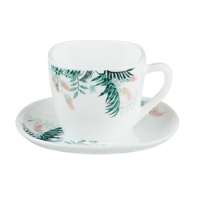 MILLIMI Тропикана Чайная пара (чашка 220мл., блюдце 14 см) опаловое стекло, 20048 - 1
