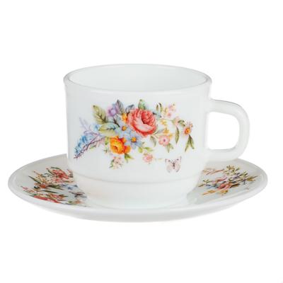 MILLIMI Дарина Чайная пара (чашка 250мл., блюдце 15см) опаловое стекло, 18136 - 1