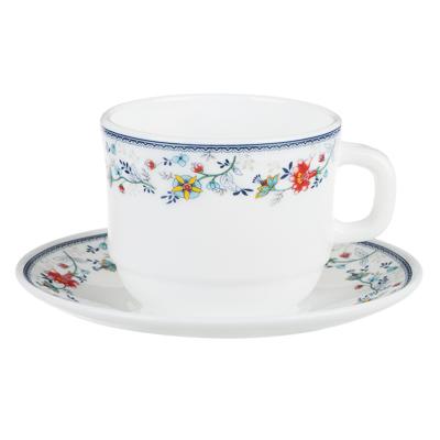MILLIMI Виола Чайная пара (чашка 250мл., блюдце 15см) опаловое стекло, 21001 - 1