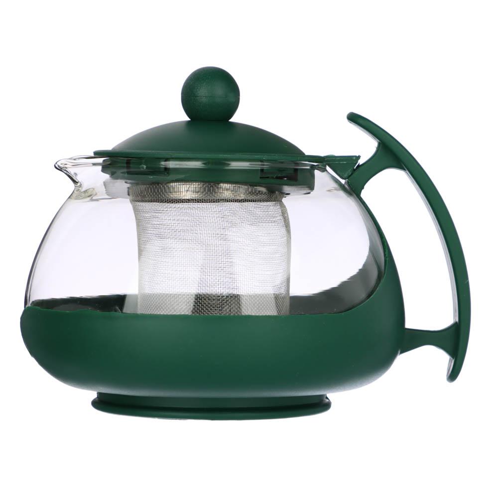 Чайник заварочный 750мл,овальный, ситечко из нержавеющей стали, стекло, полипропилен, 3 цвета - 2
