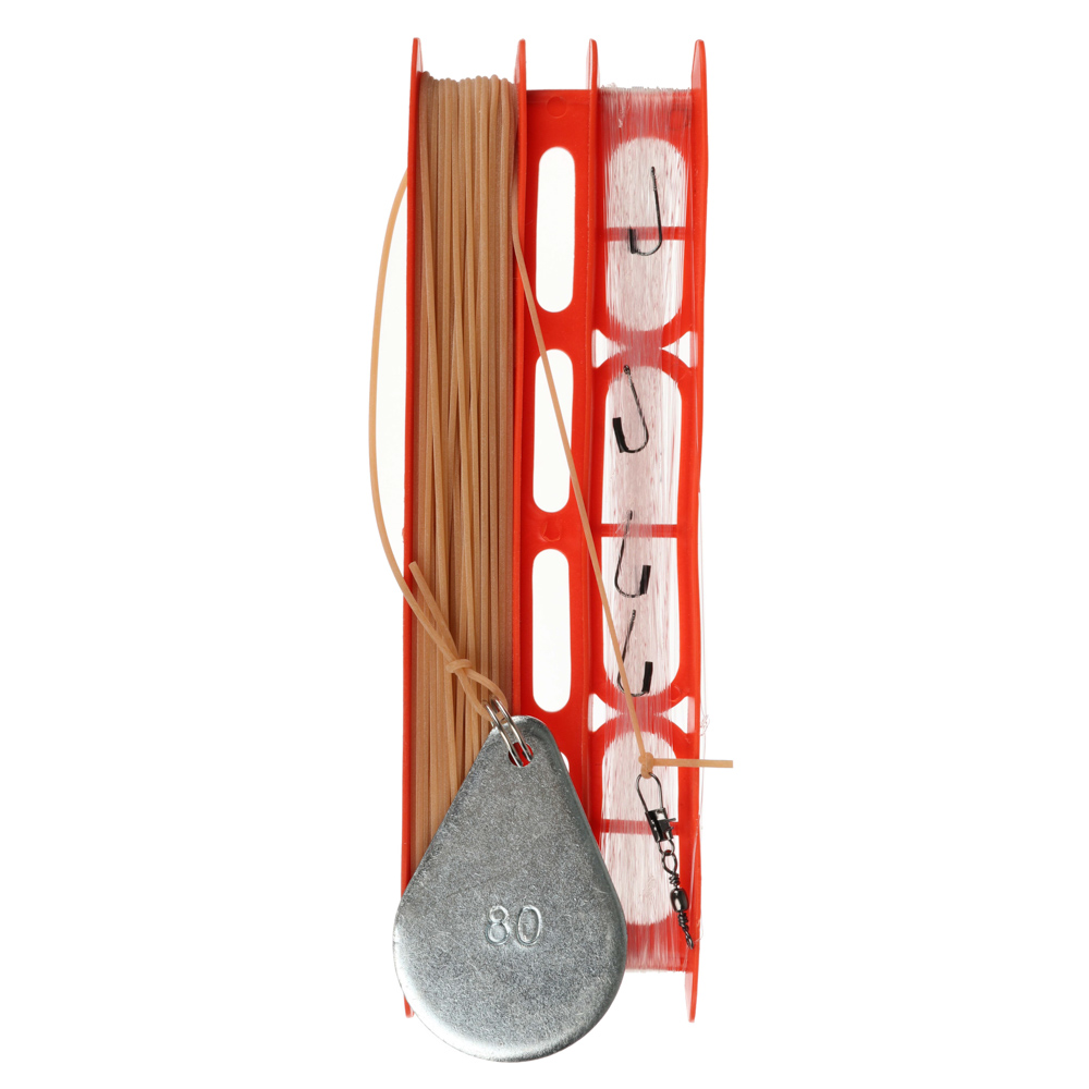 Снасть донная оснащенная AZOR FISHING леска 30 м/крючок 5 шт/резинка 10 м/груз 80г/карабин 2 шт - 2
