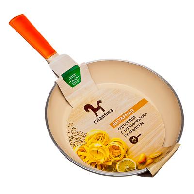 СЛАВЯНА Янтарная Сковорода литая с керамическим покрытием d24см, индукция, GH-24 - 2