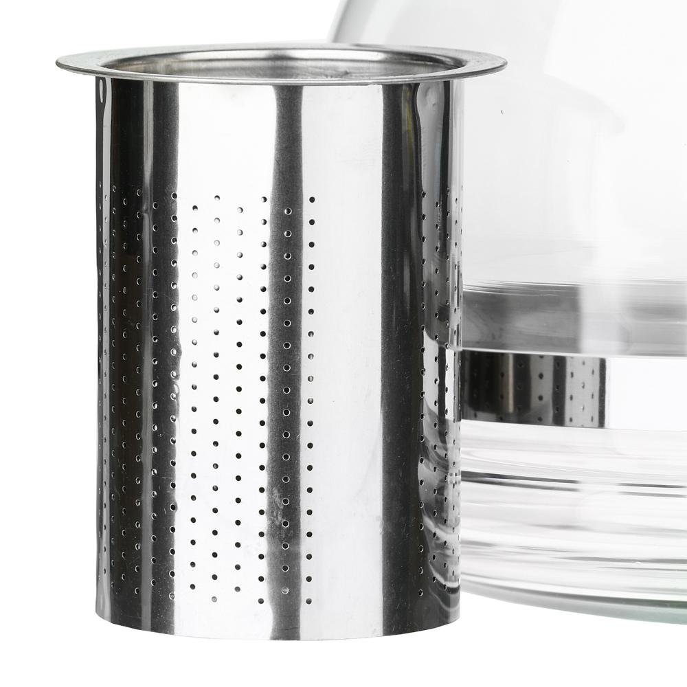 Чайник заварочный 1500 мл, ситечко из нержавеющей стали, стекло, пластик - 3