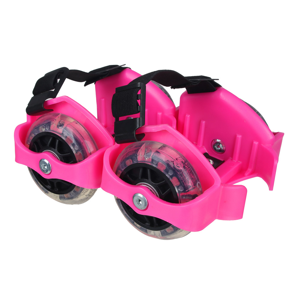 Ролики на пятку с подсветкой, база пластик раздв, колеса ПВХ, 7,2 см, 3LED, до 80 кг, 6+, синий, SIL - 3