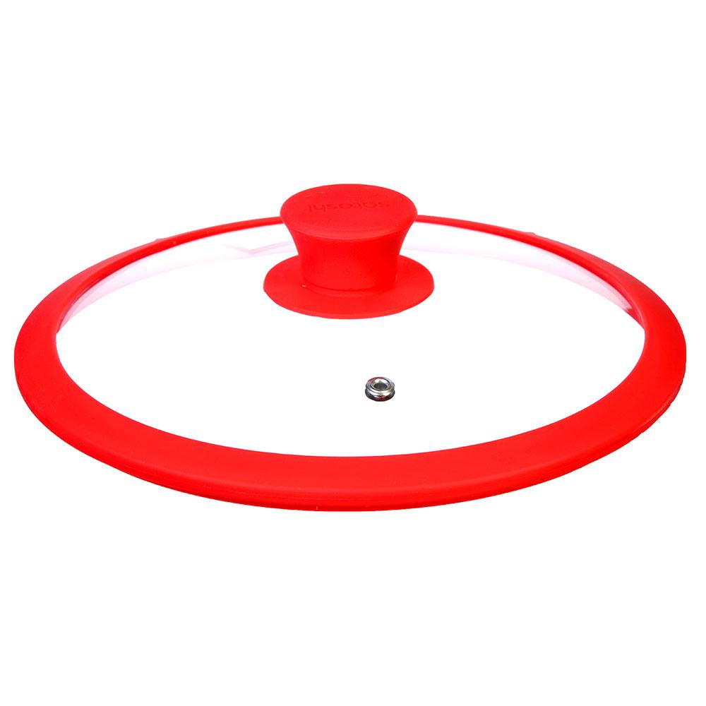 Крышка для сковороды с ручкой, стекло, силикон, 28 см, SATOSHI - 2