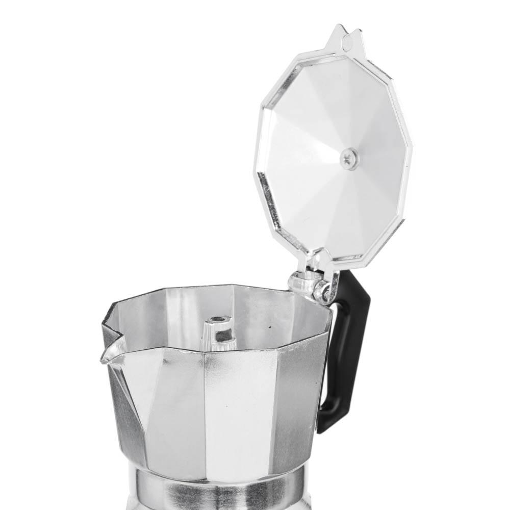 Кофеварка гейзерная, 3 чашки, алюминий(SGS), пластиковая ручка - 2
