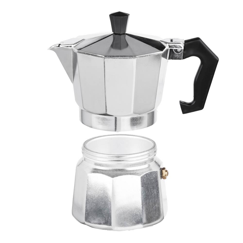 Кофеварка гейзерная, 3 чашки, алюминий(SGS), пластиковая ручка - 3