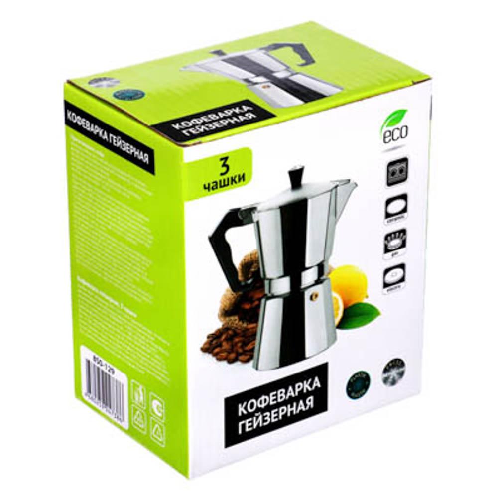 Кофеварка гейзерная, 3 чашки, алюминий(SGS), пластиковая ручка - 4