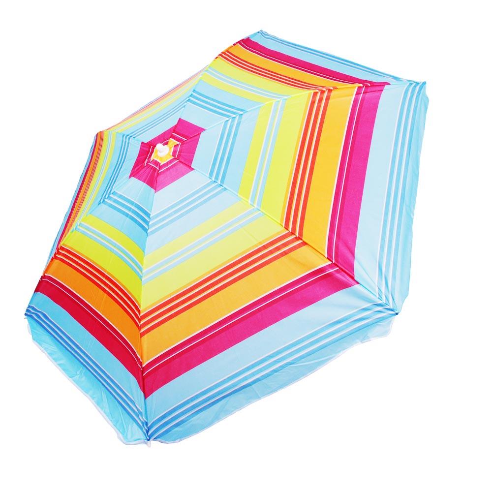 Зонт пляжный Яркое лето, 170Т, полиэстер, d160см, h170см, 16/19мм стойка, в чехле, 4 диз. - 2