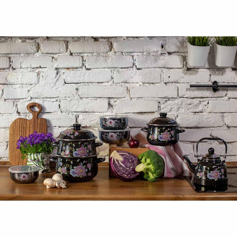 Набор салатников с крышками Иллюзия Георгина, 6 пр, эмаль, черный перламутр - 5