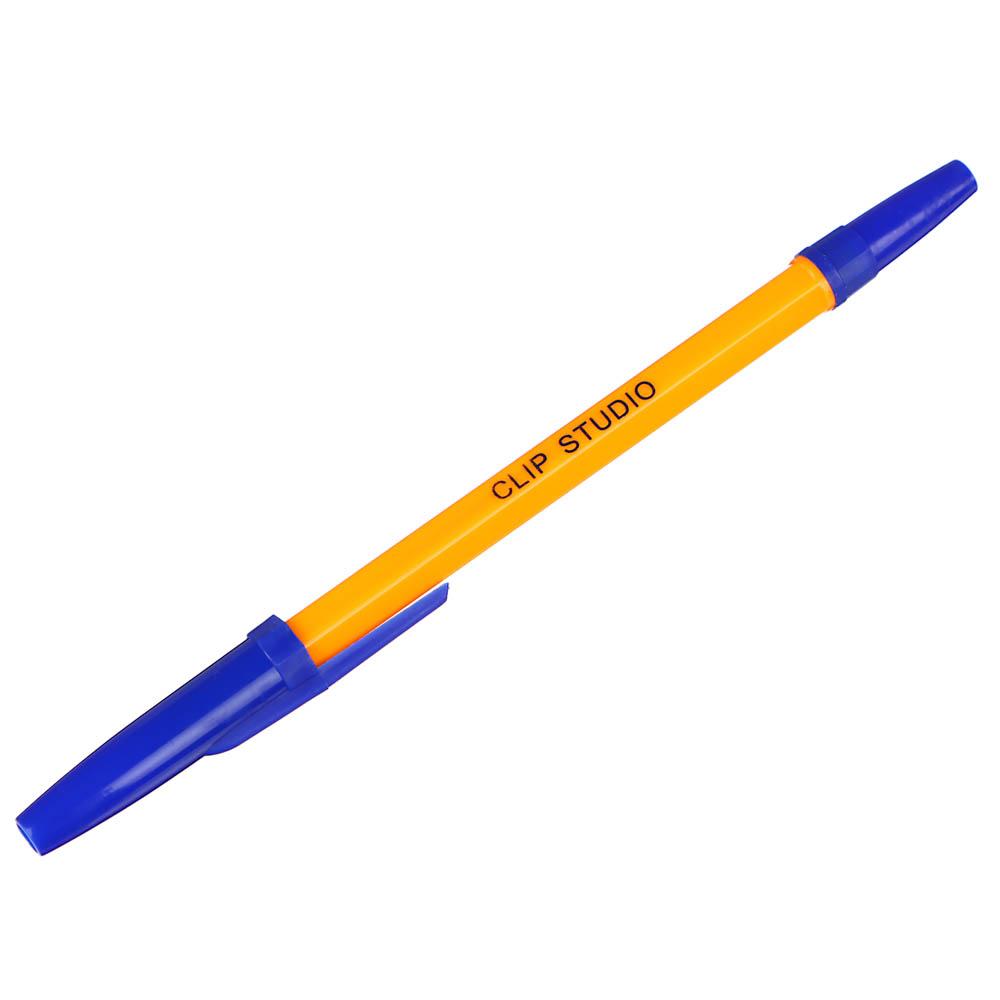 Ручка шариковая ClipStudio 0,7 мм, синяя, жёлтый корпус - 4
