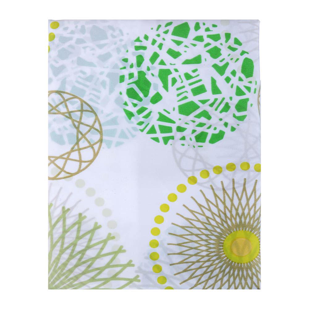 """VETTA Шторка для ванной, ткань полиэстер с утяжелит, 180x180см, """"Зелёные круги"""" - 2"""