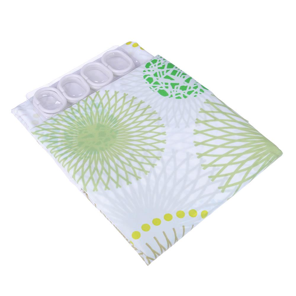 """VETTA Шторка для ванной, ткань полиэстер с утяжелит, 180x180см, """"Зелёные круги"""" - 3"""