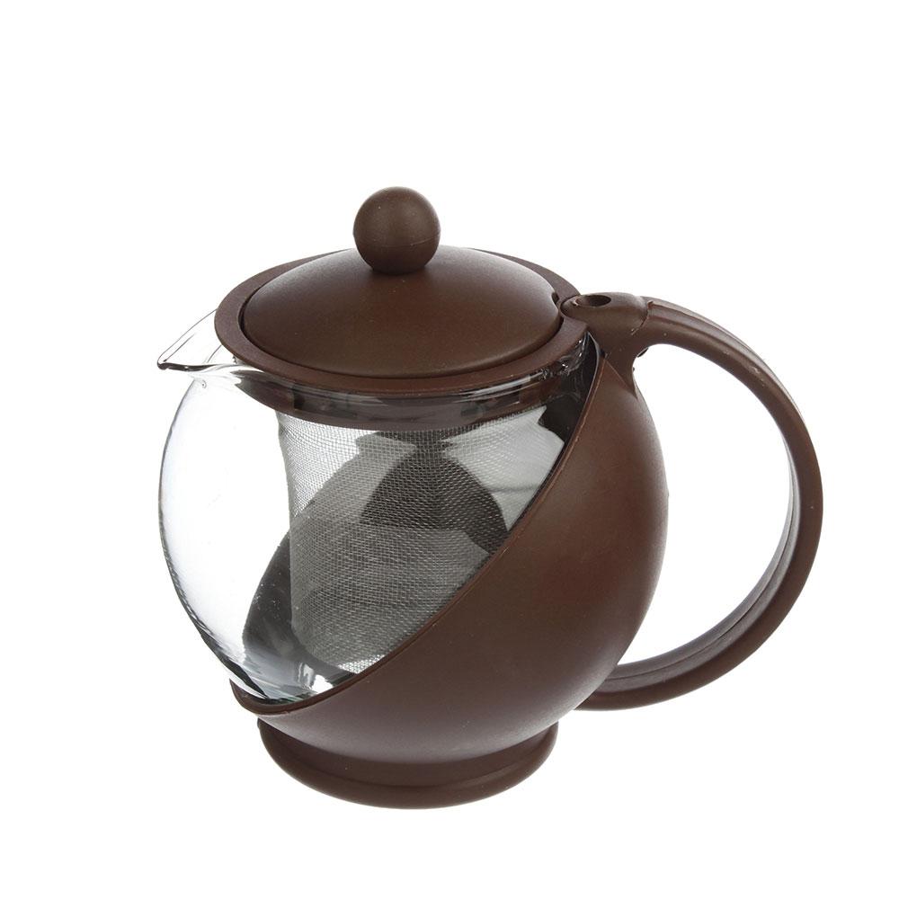 Чайник заварочный 500 мл, ситечко из нержавеющей стали, стекло/пластик - 2