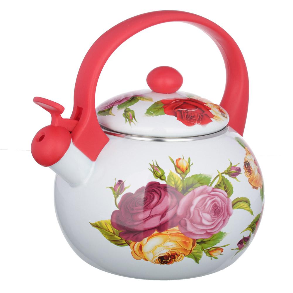 Чайник 2,2 л VETTA Цветы, эмалированный со свистком, индукция - 2