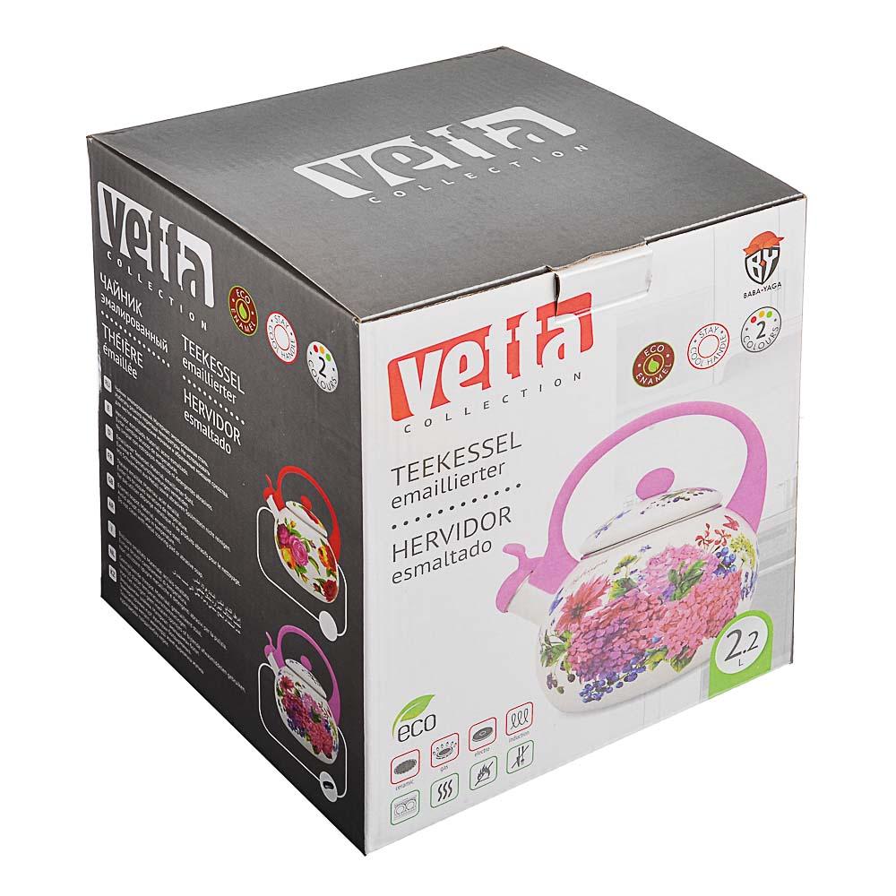 Чайник 2,2 л VETTA Цветы, эмалированный со свистком, индукция - 6