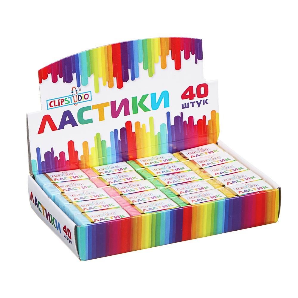 Ластик ClipStudio в картонном держателе, 4 цвета - 4