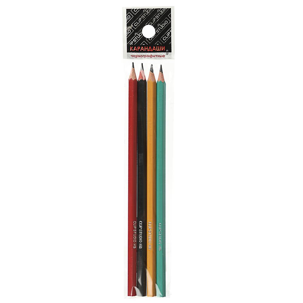 Карандаши чернографитные ClipStudio, 4 шт., цветной корпус - 2