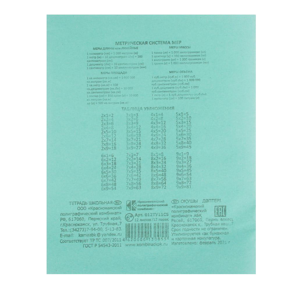 Тетрадь школьная БЕЛЫЕ ЛИСТЫ 12 листов в клетку, зеленая обложка - 4