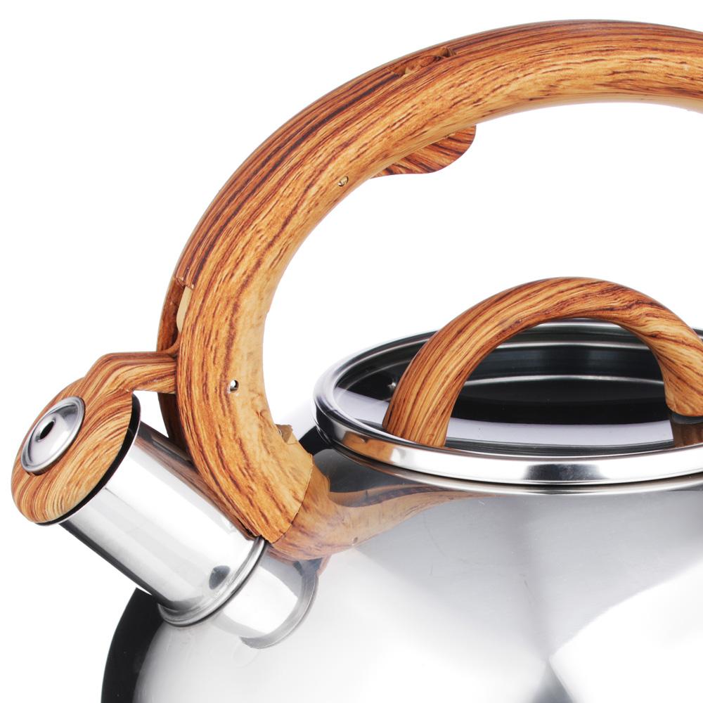 """Чайник стальной, зеркальный, стеклянная крышка, индукция, 3.0л, VETTA """"Ива"""" - 2"""