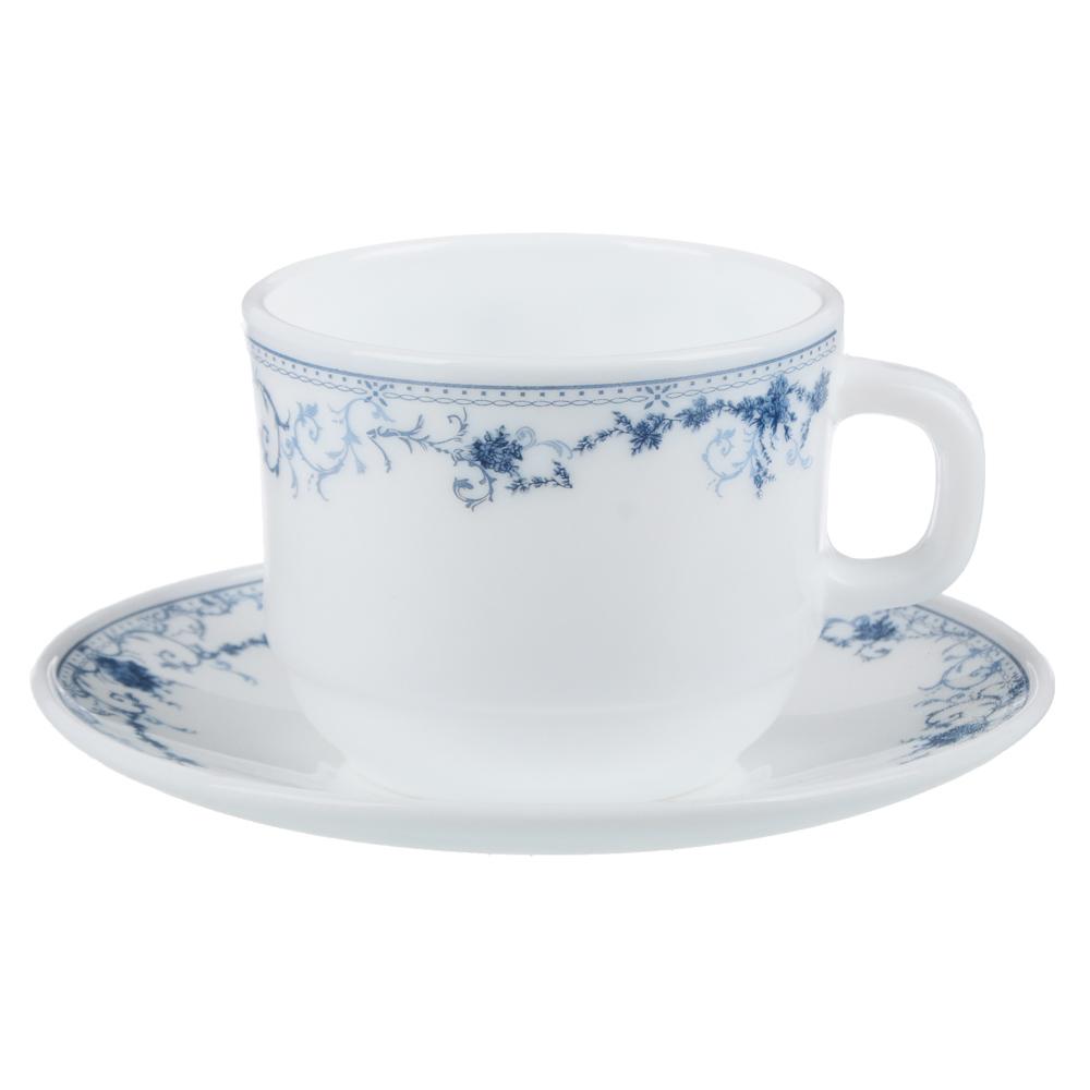 """Чайная пара: чашка 250 мл, блюдце 15 см, опаловое стекло, MILLIMI """"Бьянко"""" - 2"""