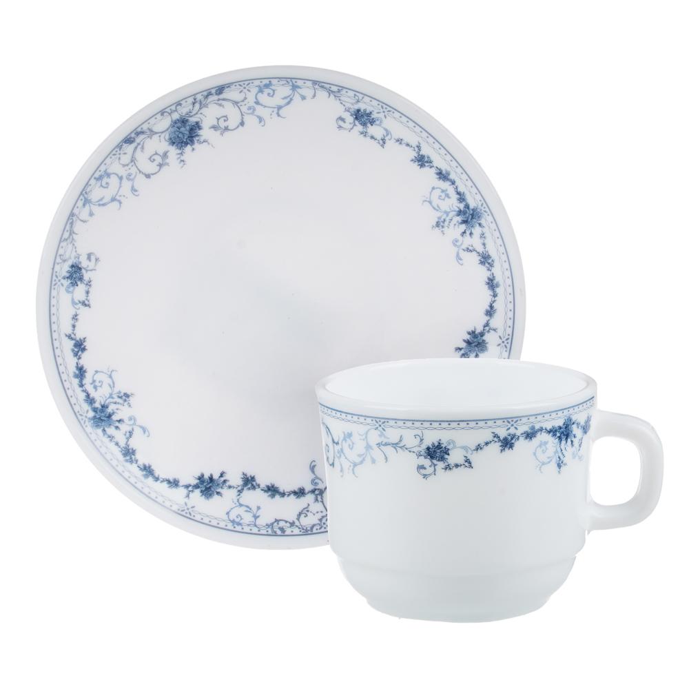 """Чайная пара: чашка 250 мл, блюдце 15 см, опаловое стекло, MILLIMI """"Бьянко"""" - 4"""