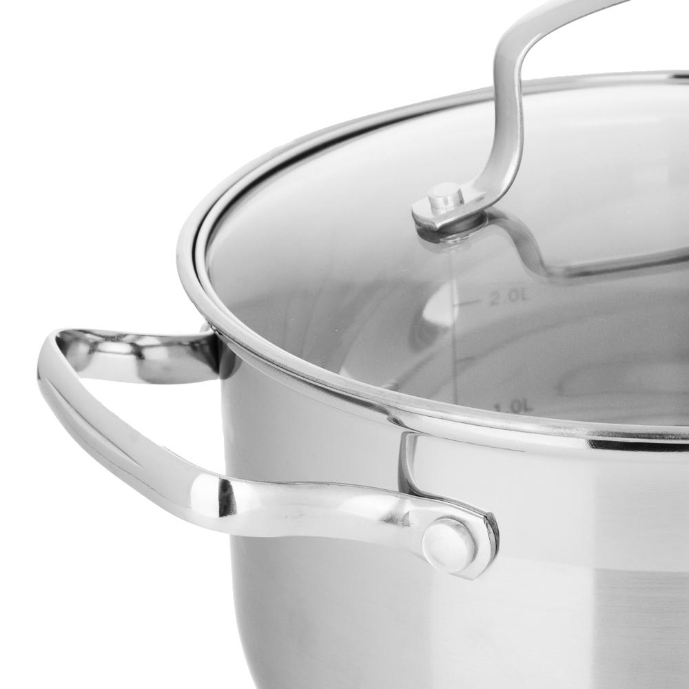 Кастрюля 3,5 л VETTA Берн, со стеклянной крышкой, индукция - 3
