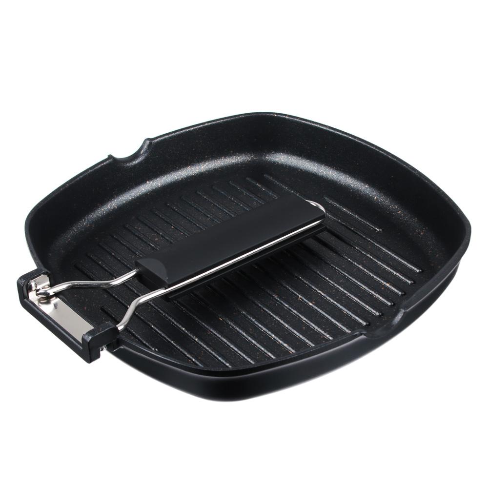 Сковорода-гриль 24х24 см СЛАВЯНА Кобальт, литая с антипригарным покрытием, индукция - 4