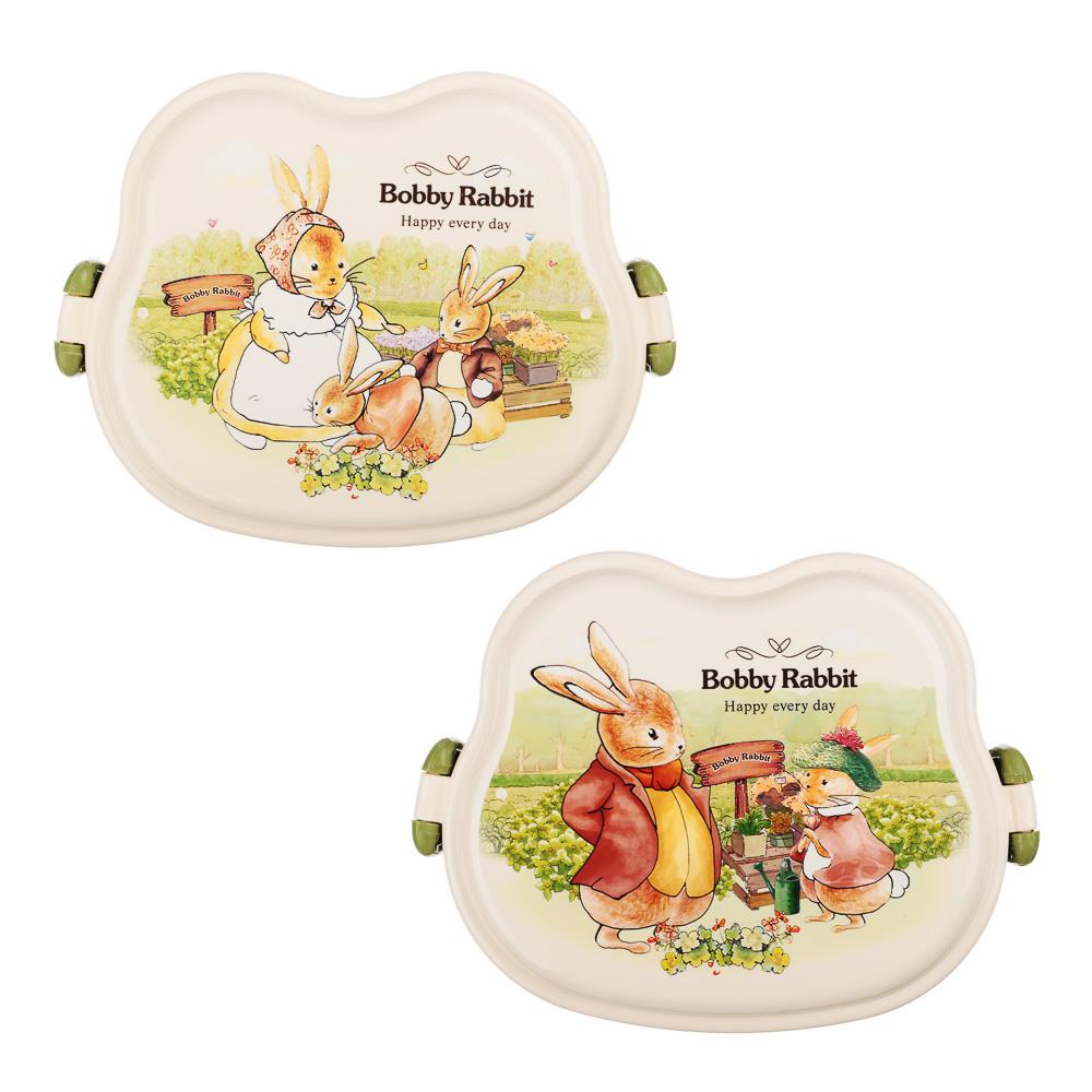 """Ланчбокс квадратный, тарелка, ложка-вилка, 16,5х12 см, пластик, """"Зайчата"""" - 2"""