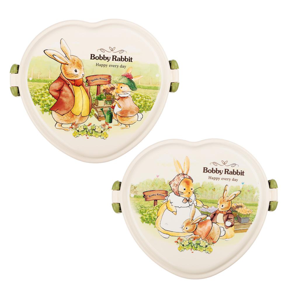 """Ланчбокс в форме сердечка, тарелка, ложка-вилка, 13,5х16 см, пластик, """"Зайчата - 2"""