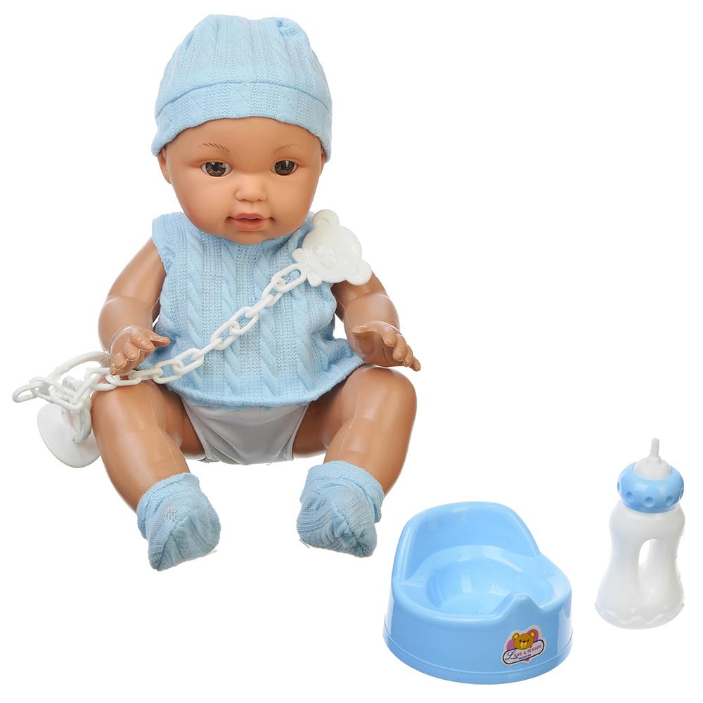 ИГРОЛЕНД Кукла функциональная с аксессуарами, 12 звуков, пьет, пластик, текстиль, 30см, 2 дизайна - 2
