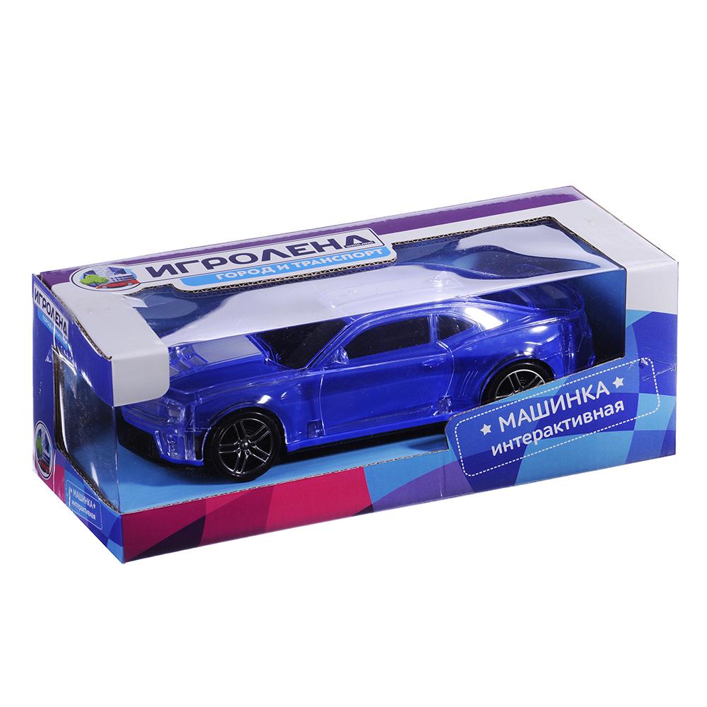 ИГРОЛЕНД Машинка интерактивная, синяя, корпус светится/звук, пластик, 20х11х5,5см - 2