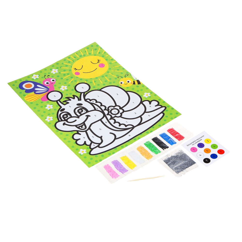 """Фреска из песка с цветным фоном """"Микс"""", бумага, песок 8-10цв., 21,5х31,5см, 6-8 дизайнов - 3"""