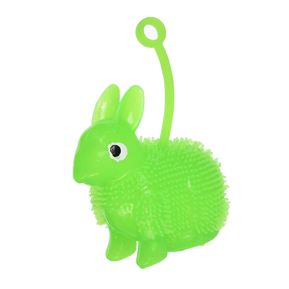 Игрушка-антистресс пушистая Заяц светящиеся, резина, 8см, 4 цвета - 2
