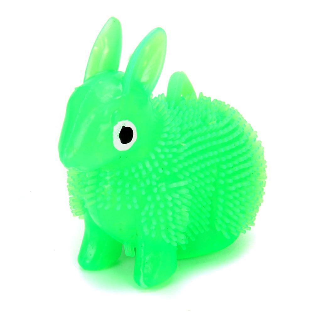 Игрушка-антистресс пушистая Заяц светящиеся, резина, 8см, 4 цвета - 3