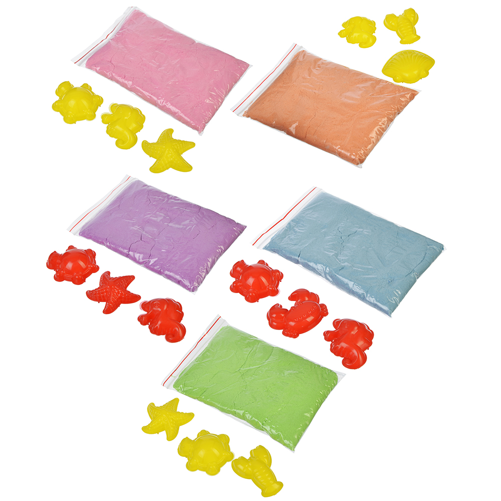 Кинетический песок 200, комплект: 3 формочки, пластик, песок 200гр, 6 цветов - 3