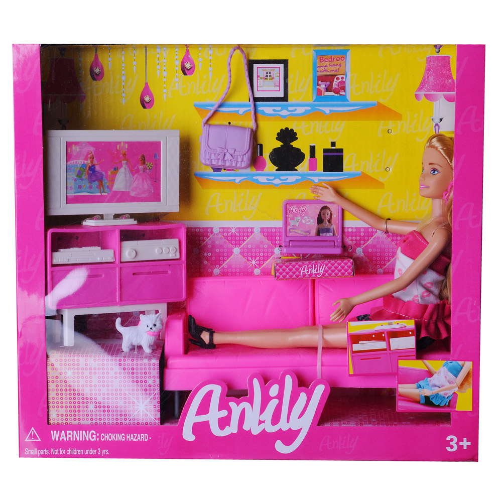 ИГРОЛЕНД Кукла с мебелью для гостиной пластик, полиэстер, 31Х36Х8см - 2