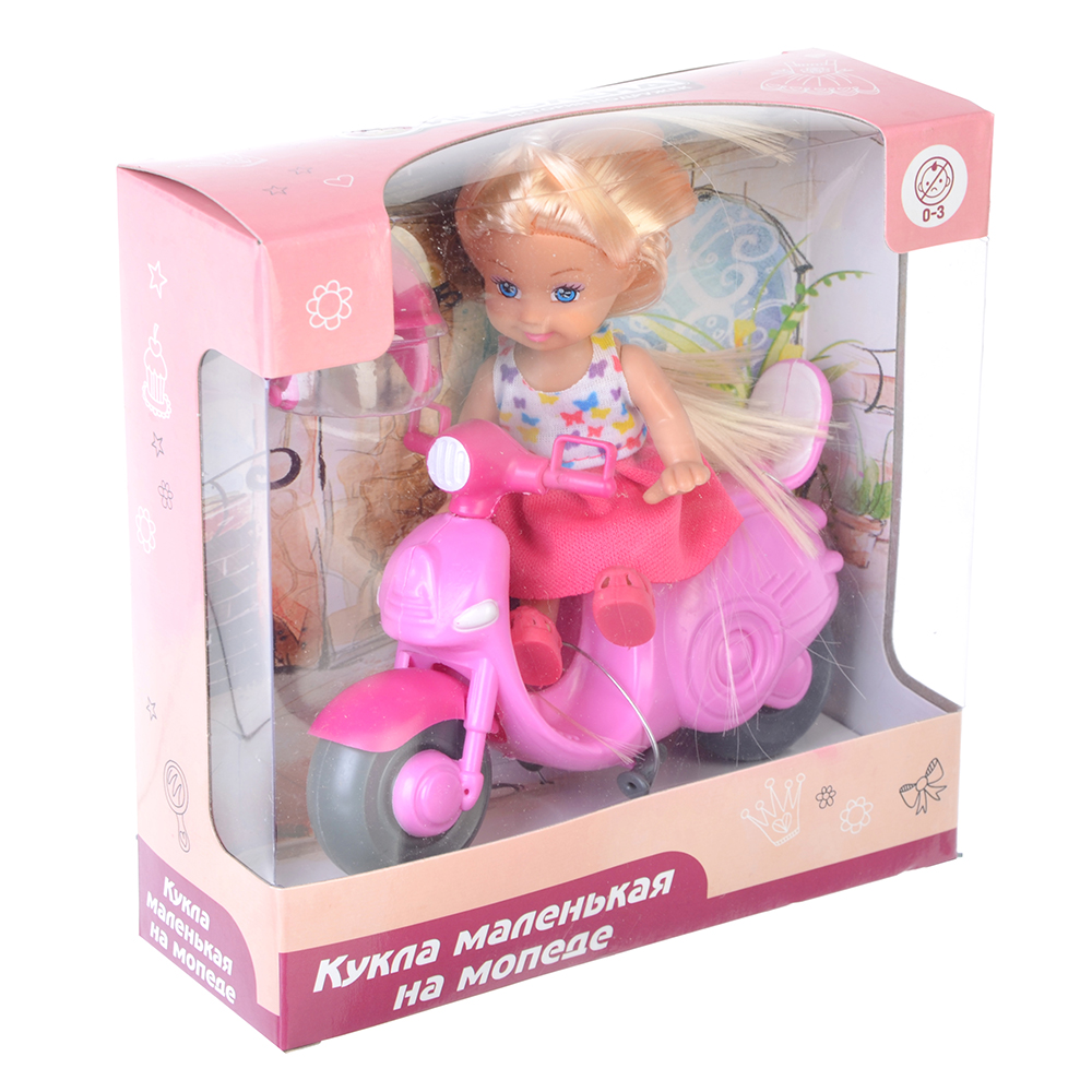 ИГРОЛЕНД Кукла маленькая на мопеде, пластик, полиэстер - 2