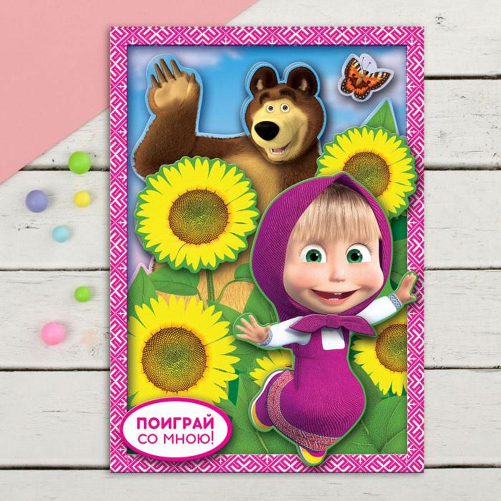 Аппликация 3D со стразами Маша и Медведь, пластик, бумага, 24,7x15,4см, 4 дизайна - 3