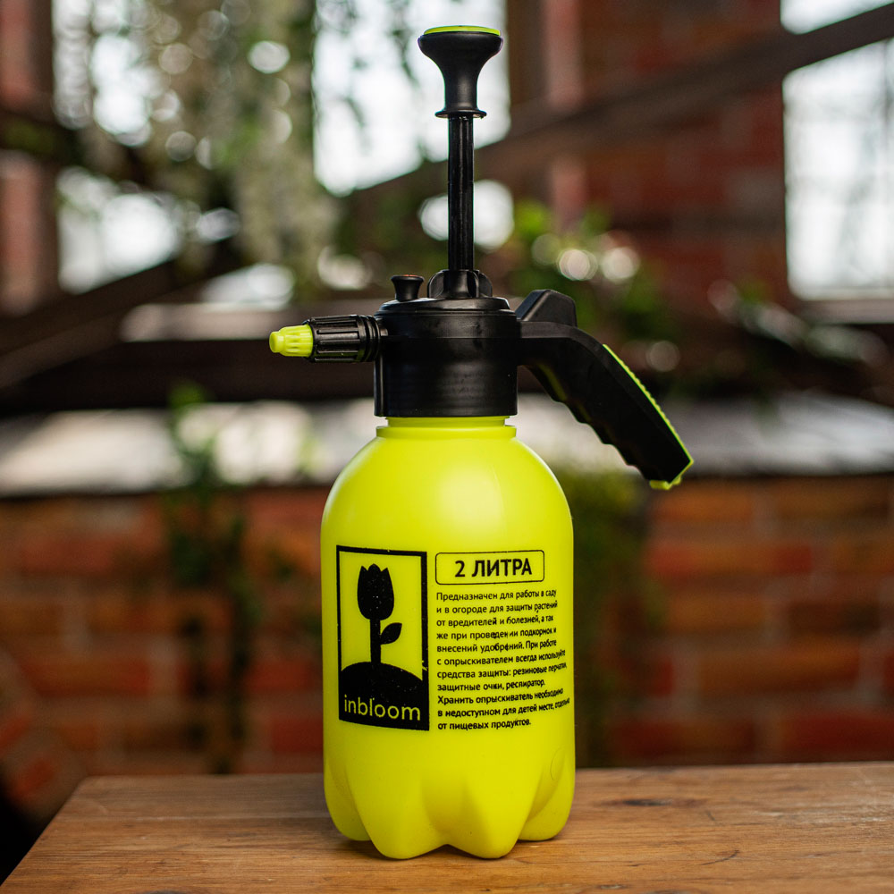 Пульверизатор помповый, пластик, 1,75л., 30 см, желтый, 21х13х24, INBLOOM - 4