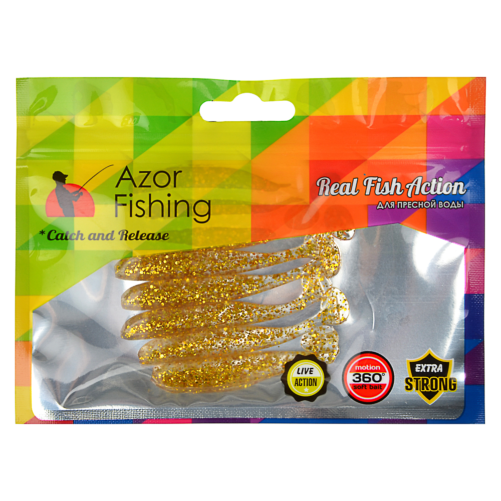 Приманка мягкая AZOR FISHING Виброхвост 2.8, силикон Премиум, 70 мм, 8 шт., микс цветов - 3