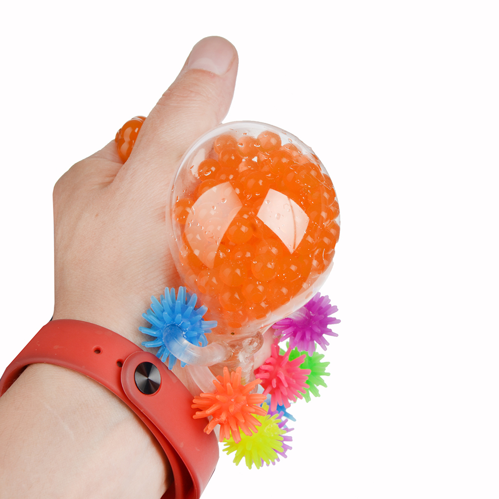 Мялка в виде Осьминожки с шариками, резина, 5,5х5х5,5см, 4-6 цветов - 4