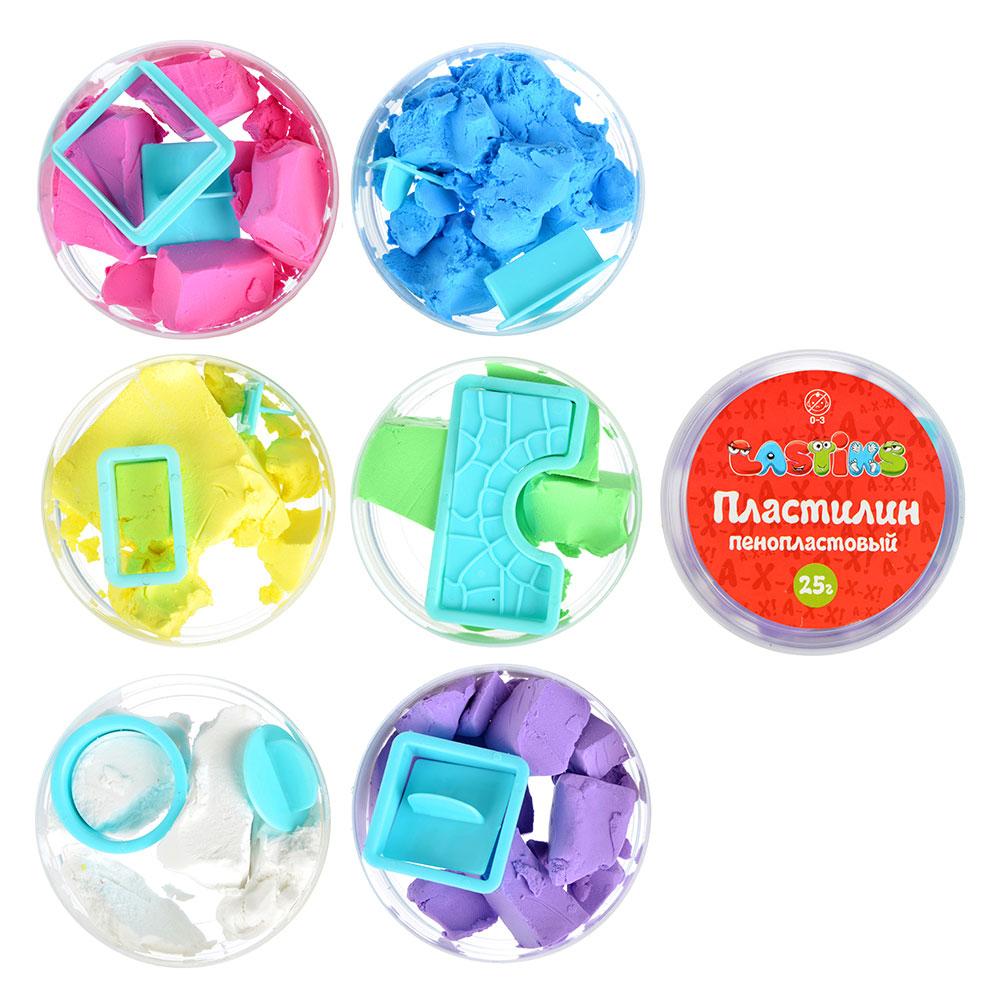 Пенопластовый пластилин, 25г , полимер, 9х9х4,5см, 6 цветов - 2